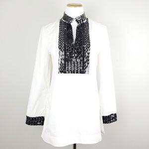 Tory Burch Ivory Embellished Long Sleeve Tunic